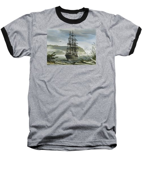 Baseball T-Shirt featuring the painting Tall Ship Cove by James Williamson