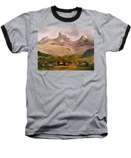 Tetons From The West Baseball T-Shirt by Larry Hamilton