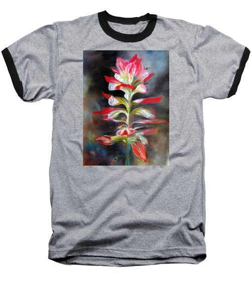 Baseball T-Shirt featuring the pastel Texas Indian Paintbrush by Karen Kennedy Chatham