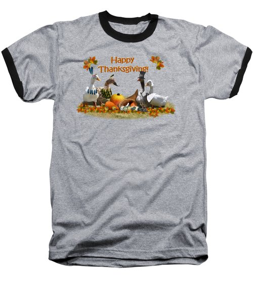 Thanksgiving Ducks Baseball T-Shirt by Gravityx9 Designs