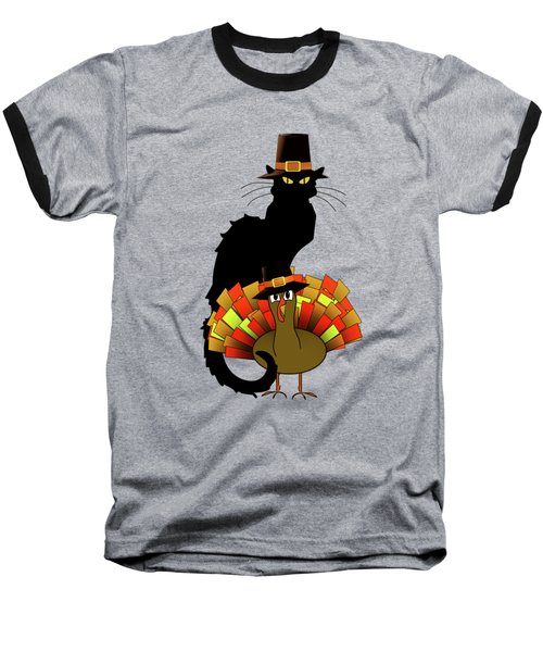 Thanksgiving Le Chat Noir With Turkey Pilgrim Baseball T-Shirt