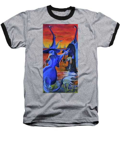 Baseball T-Shirt featuring the painting The Cat And The Witch by Christophe Ennis