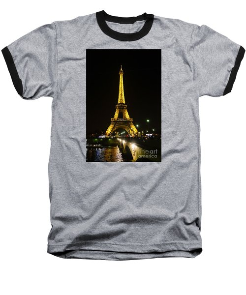 The Eiffel Tower At Night Illuminated, Paris, France. Baseball T-Shirt by Perry Van Munster