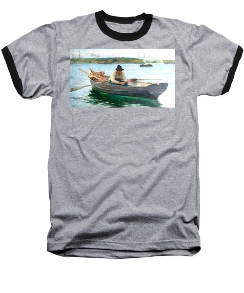 Baseball T-Shirt featuring the painting The Fisherman by Henry Scott Tuke
