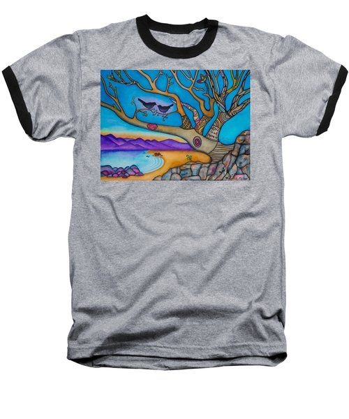 Baseball T-Shirt featuring the painting The Kiss And Love Is All There Is by Lori Miller