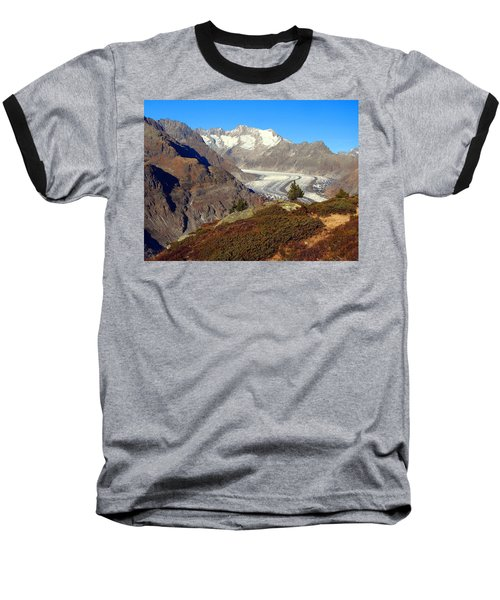 The Large Aletsch Glacier In Switzerland Baseball T-Shirt by Ernst Dittmar