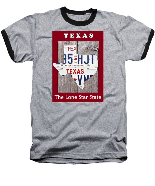 Baseball T-Shirt featuring the digital art The Lone Star State by Suzanne Theis