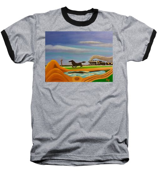 Baseball T-Shirt featuring the painting The Race by Margaret Harmon