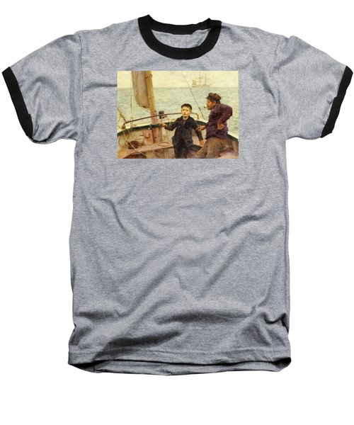 The Steering Lesson Baseball T-Shirt by Henry Scott Tuke