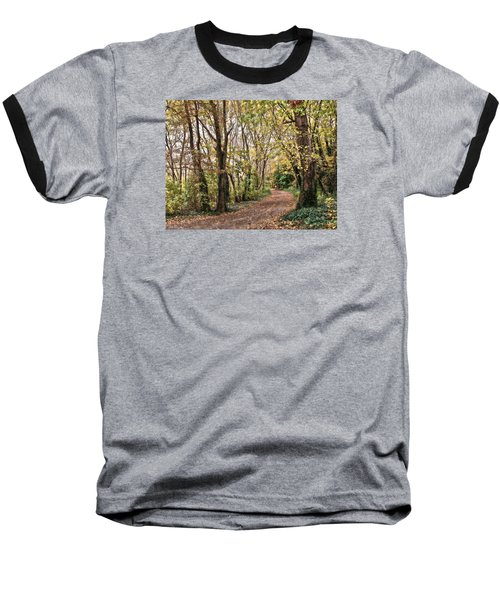 The Woods In Autumn Baseball T-Shirt by Mikki Cucuzzo