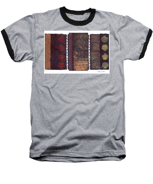 Baseball T-Shirt featuring the painting Three Panel Transitional Page Format  by Kerryn Madsen- Pietsch