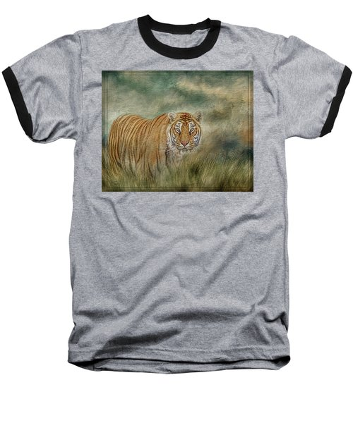 Tiger In The Grass Baseball T-Shirt