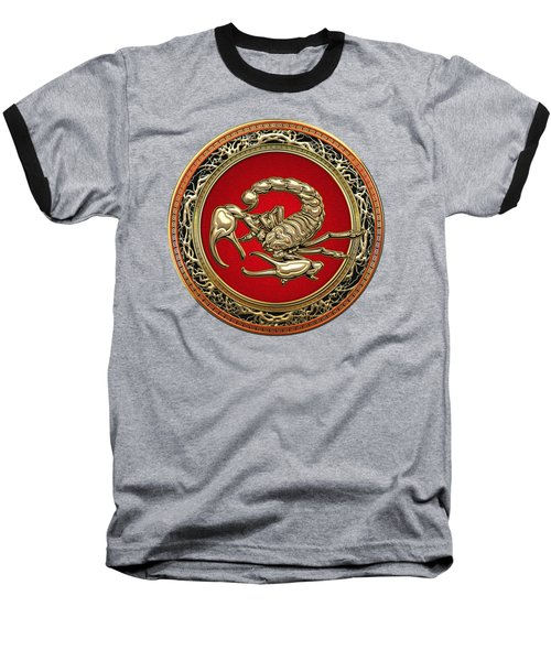 Treasure Trove - Sacred Golden Scorpion On Black Baseball T-Shirt
