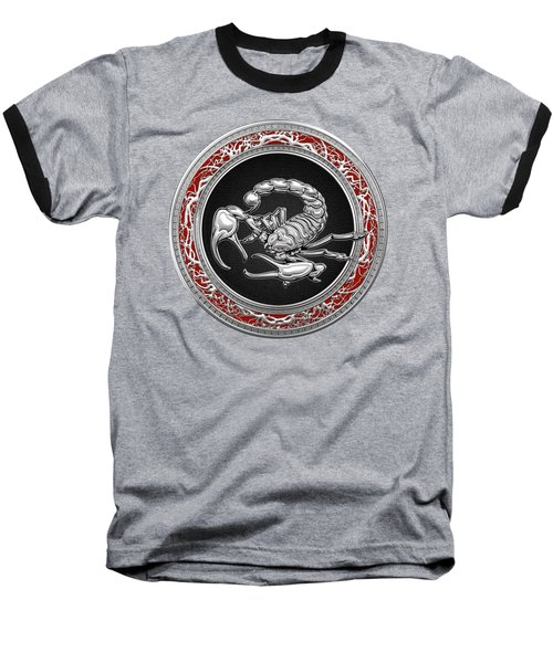 Treasure Trove - Sacred Silver Scorpion On Red Baseball T-Shirt
