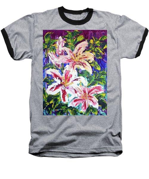 Tropical Flowers Baseball T-Shirt by Lynda Cookson