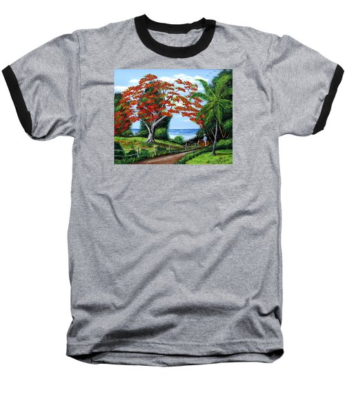 Tropical Landscape Baseball T-Shirt by Luis F Rodriguez
