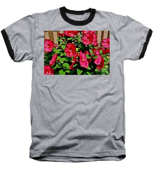 Tropical Red Hibiscus Bush Baseball T-Shirt