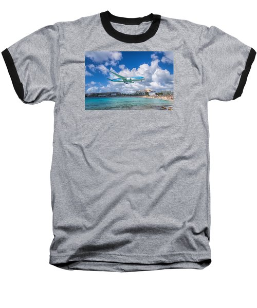 Tui Airlines Netherlands Landing At St. Maarten Airport. Baseball T-Shirt by David Gleeson