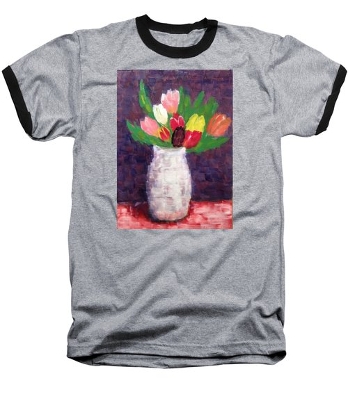 Tulips Baseball T-Shirt by Tamara Savchenko