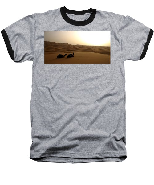 Two Camels At Sunset In The Desert Baseball T-Shirt by Ralph A  Ledergerber-Photography