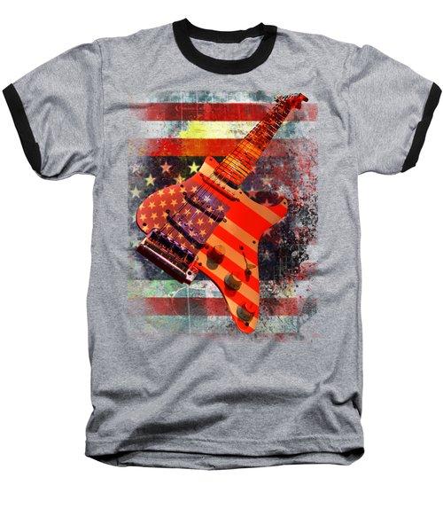 Baseball T-Shirt featuring the digital art Usa Strat Guitar Music by Guitar Wacky