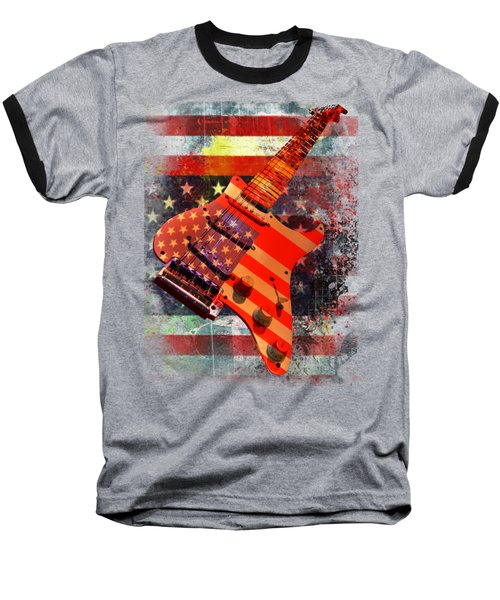 Usa Strat Guitar Music Baseball T-Shirt