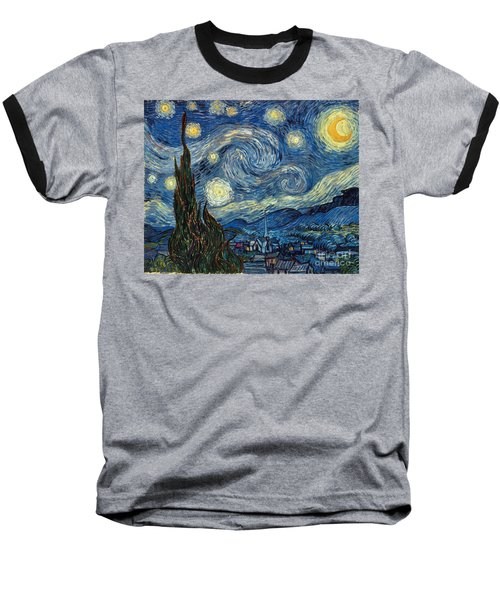 Van Gogh Starry Night Baseball T-Shirt
