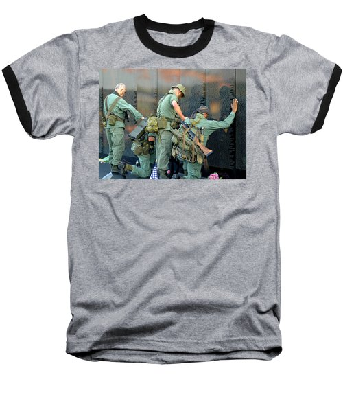 Veterans At Vietnam Wall Baseball T-Shirt by Carolyn Marshall