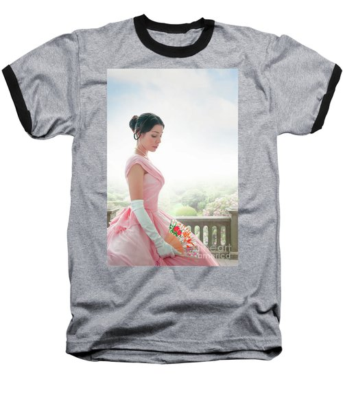 Victorian Woman In A Pink Ball Gown Baseball T-Shirt by Lee Avison