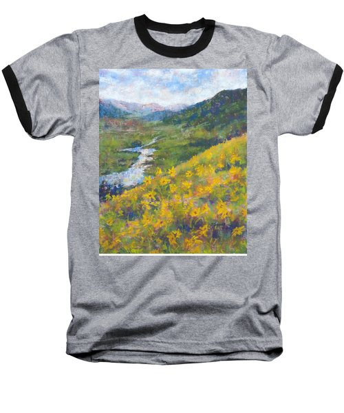 View From Baxters Gulch Baseball T-Shirt by Becky Chappell