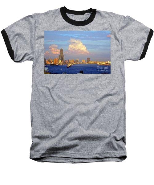 View Of Kaohsiung City At Sunset Time Baseball T-Shirt by Yali Shi