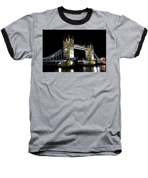 View Of The River Thames And Tower Bridge At Night Baseball T-Shirt