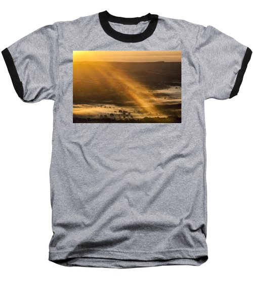 View Over The Hope Valley From Mam Tor At Dawn Baseball T-Shirt