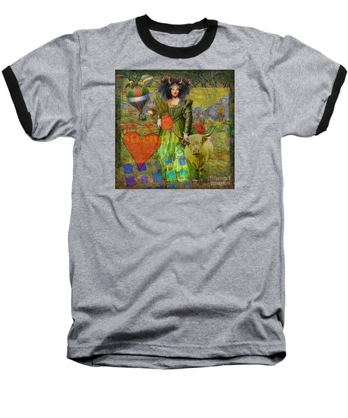 Vintage Taurus Gothic Whimsical Collage Woman Fantasy Baseball T-Shirt by Mary Hubley
