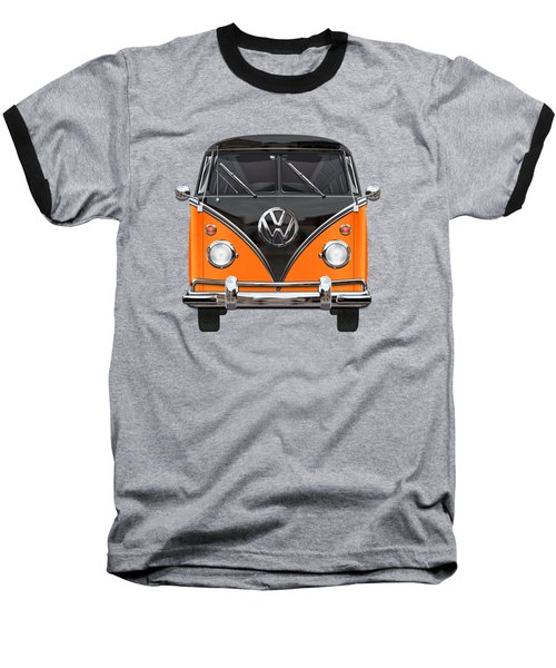Volkswagen Type 2 - Black And Orange Volkswagen T 1 Samba Bus Over Blue Baseball T-Shirt by Serge Averbukh