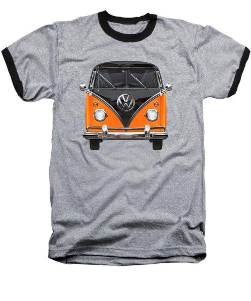 Volkswagen Type 2 - Black And Orange Volkswagen T 1 Samba Bus Over Blue Baseball T-Shirt