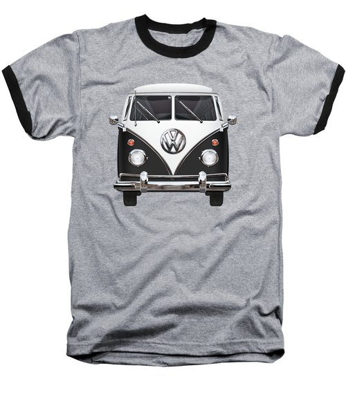 Volkswagen Type 2 - Black And White Volkswagen T 1 Samba Bus On Red  Baseball T-Shirt by Serge Averbukh