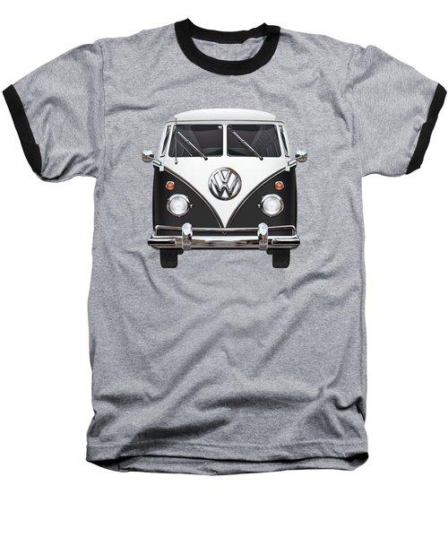 Volkswagen Type 2 - Black And White Volkswagen T 1 Samba Bus On Red  Baseball T-Shirt