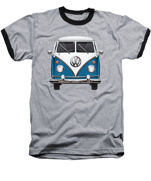 Volkswagen Type 2 - Blue And White Volkswagen T 1 Samba Bus Over Orange Canvas  Baseball T-Shirt by Serge Averbukh