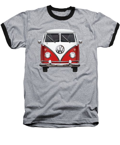 Volkswagen Type 2 - Red And White Volkswagen T 1 Samba Bus Over Green Canvas  Baseball T-Shirt by Serge Averbukh