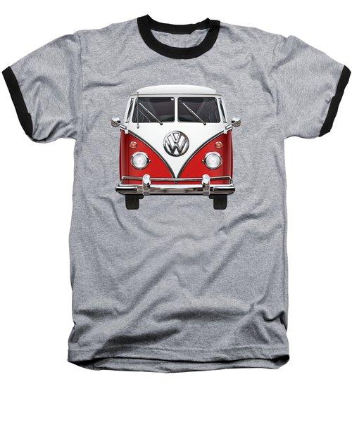 Volkswagen Type 2 - Red And White Volkswagen T 1 Samba Bus Over Green Canvas  Baseball T-Shirt