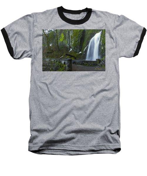 Wahkeena Falls Bridge Signed Baseball T-Shirt