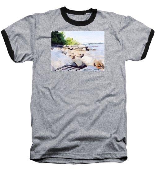 Wall And Beach At Ten Pound Island Baseball T-Shirt