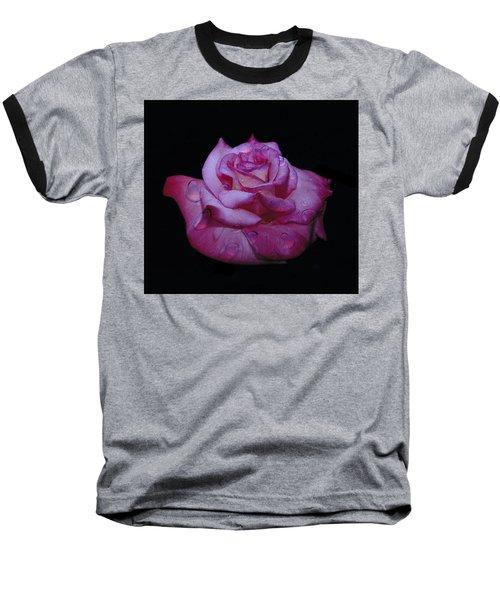 Watered Red Rose Baseball T-Shirt