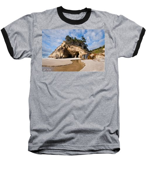 Waterfall Flowing Into The Pacific Ocean Baseball T-Shirt