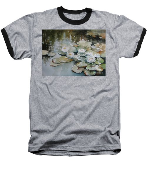 Baseball T-Shirt featuring the painting Waterlilies by Elena Oleniuc