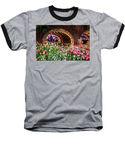 Welcoming Tulips Baseball T-Shirt by Sandy Moulder