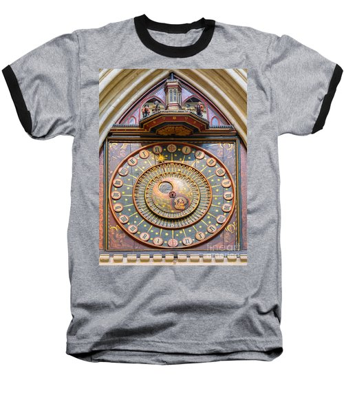 Wells Cathedral Clock Baseball T-Shirt by Colin Rayner