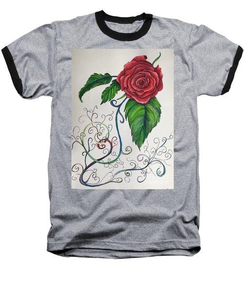 Whimsical Red Rose Baseball T-Shirt