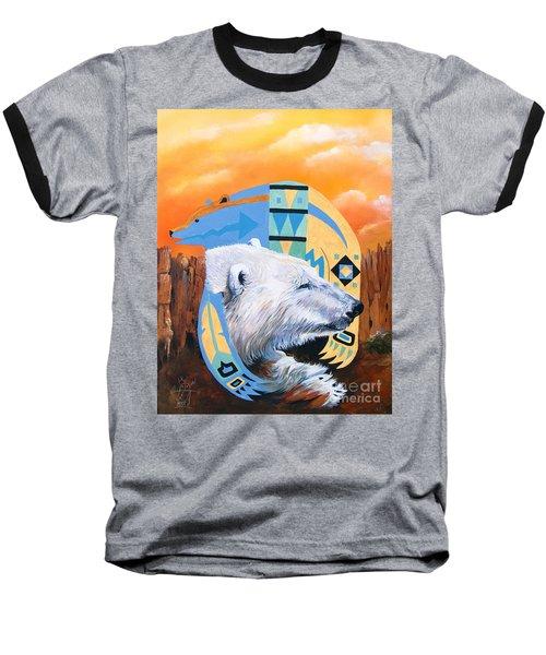 White Bear Goes Southwest Baseball T-Shirt by J W Baker